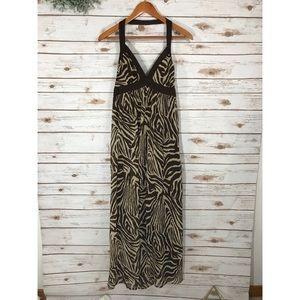 Dresses & Skirts - ZEBRA V NECK HALTER TOP MAXI DRESS
